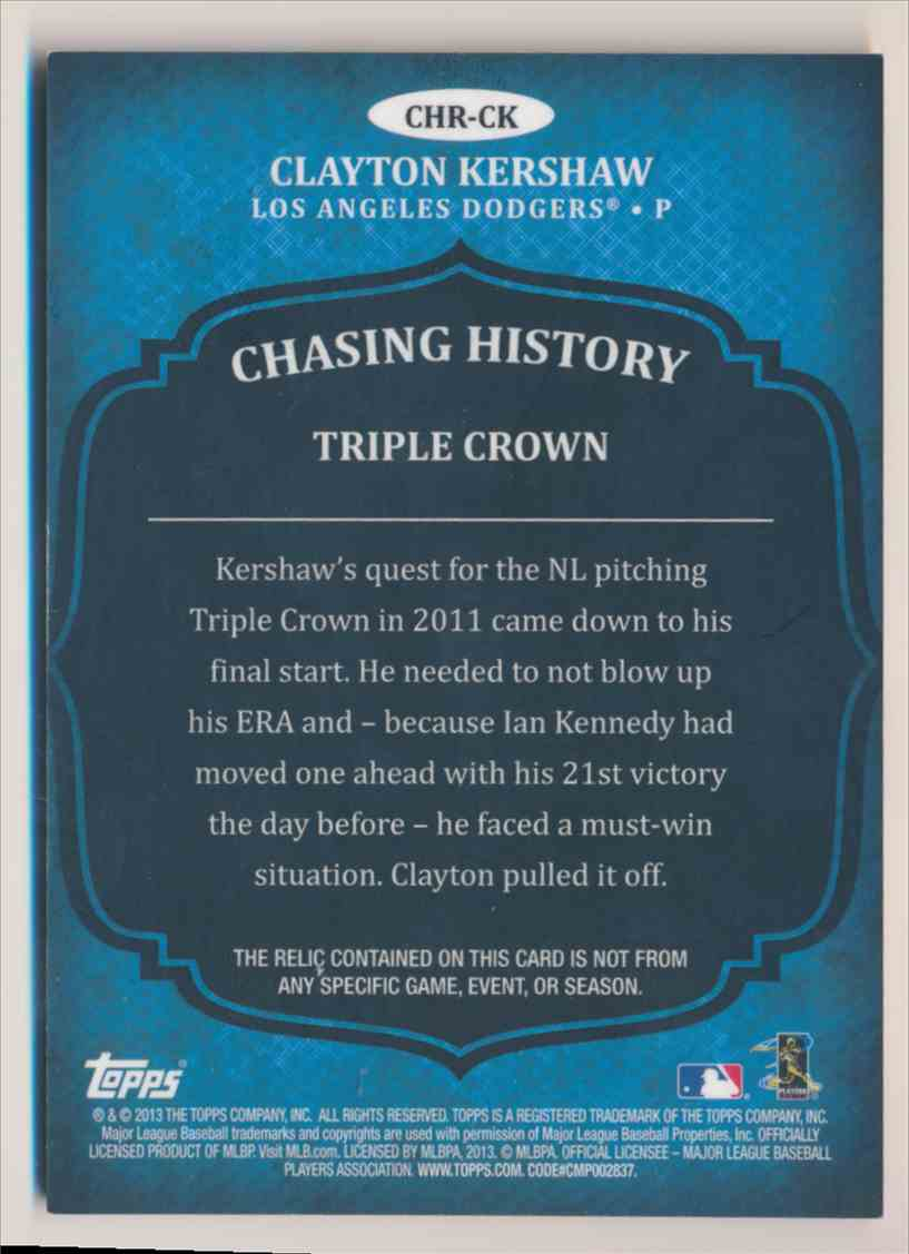 2013 Topps Chasing History Clayton Kershaw card back image