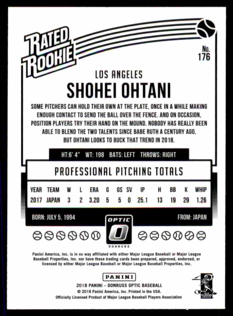 2018 Donruss Optic Shohei Ohtani #176 card back image