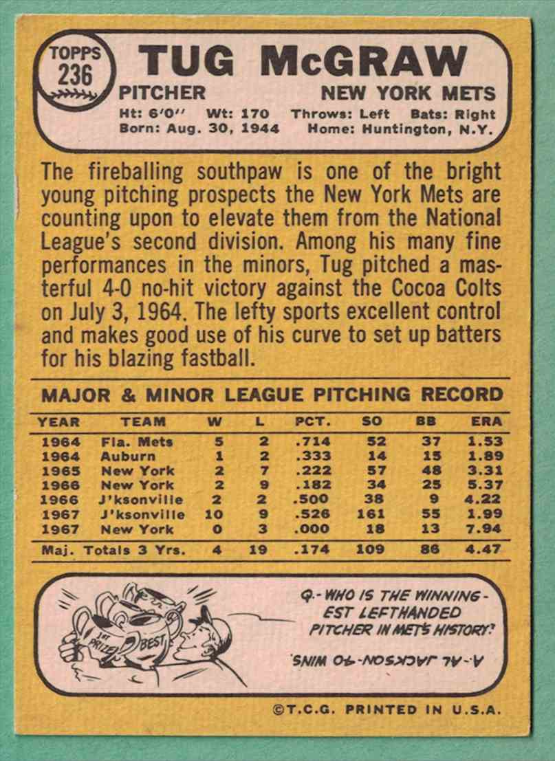 1968 Topps Tug McGraw EX-MT+ #236 card back image