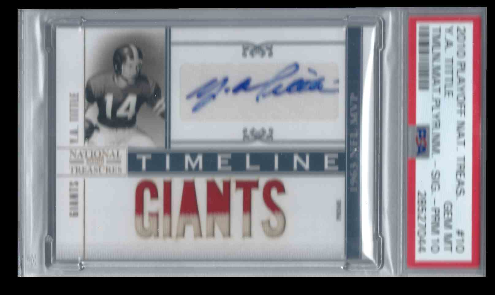 2010 Playoff National Treasures Prime Timeline Ya Tittle #10 card front image