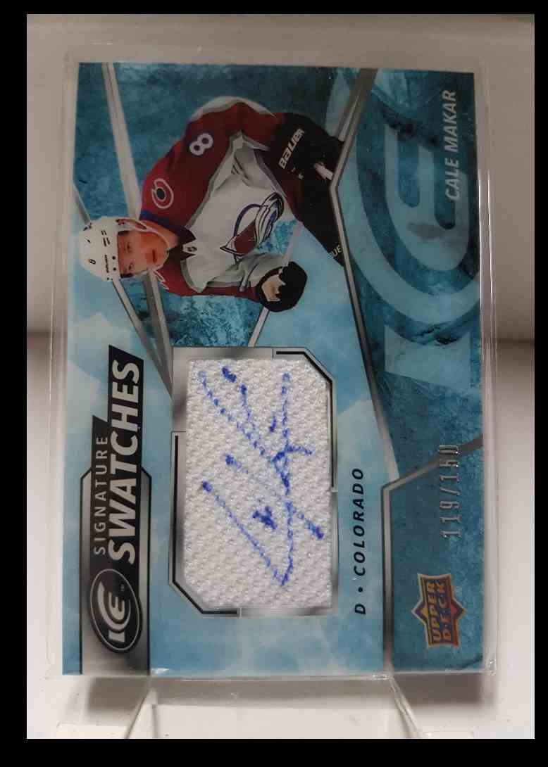 2019-20 Upper Deck Ice Signature Swatches Cale Makar 119/150 #SW-MA card front image