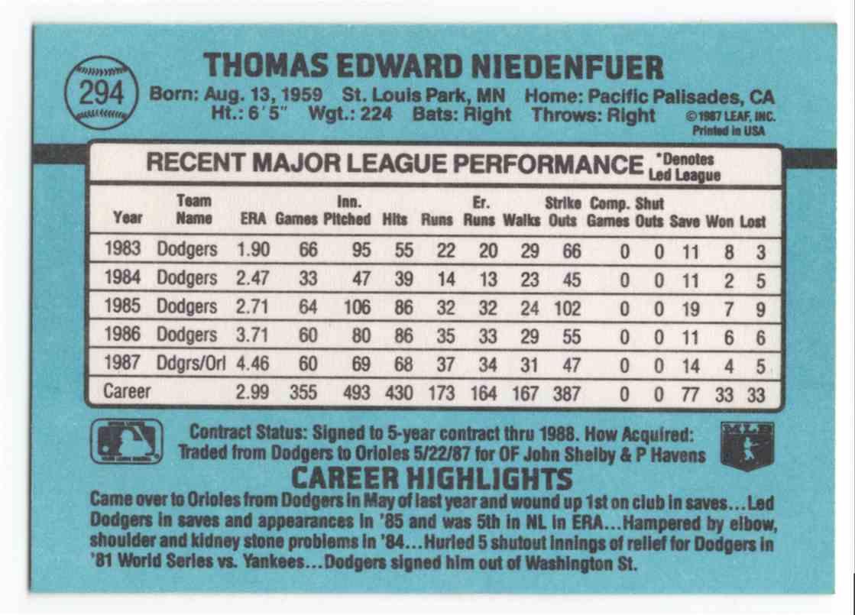 1988 Donruss Tom Niedenfuer #294 card back image