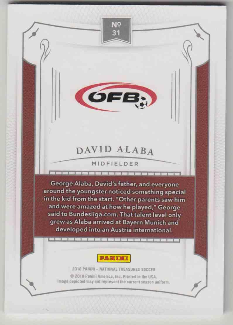 2018 National Treasures Soccer Base David Alaba #31 card back image