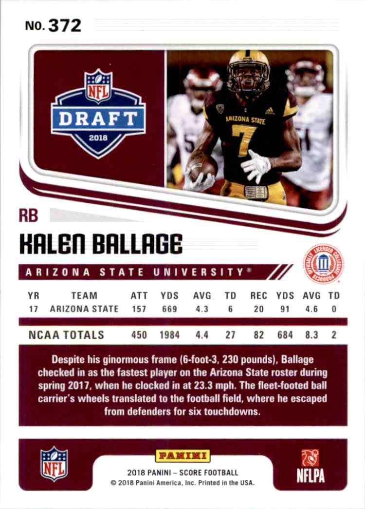 2018 Panini Score Kalen Ballage #372 card back image