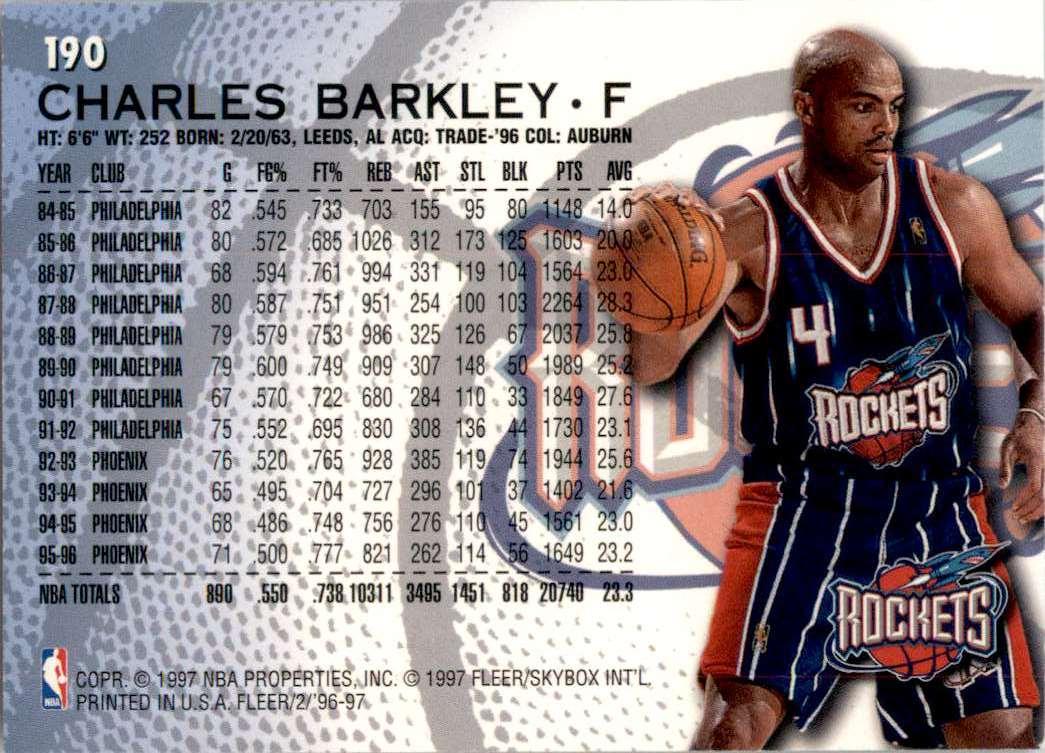 1996-97 Fleer Charles Barkley #190 card back image