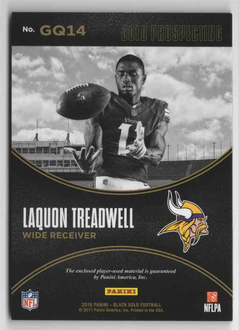 2016 Panini Black Gold Gold Prospecting Quad Materials Prime LaQuon Treadwell #GQ14 card back image