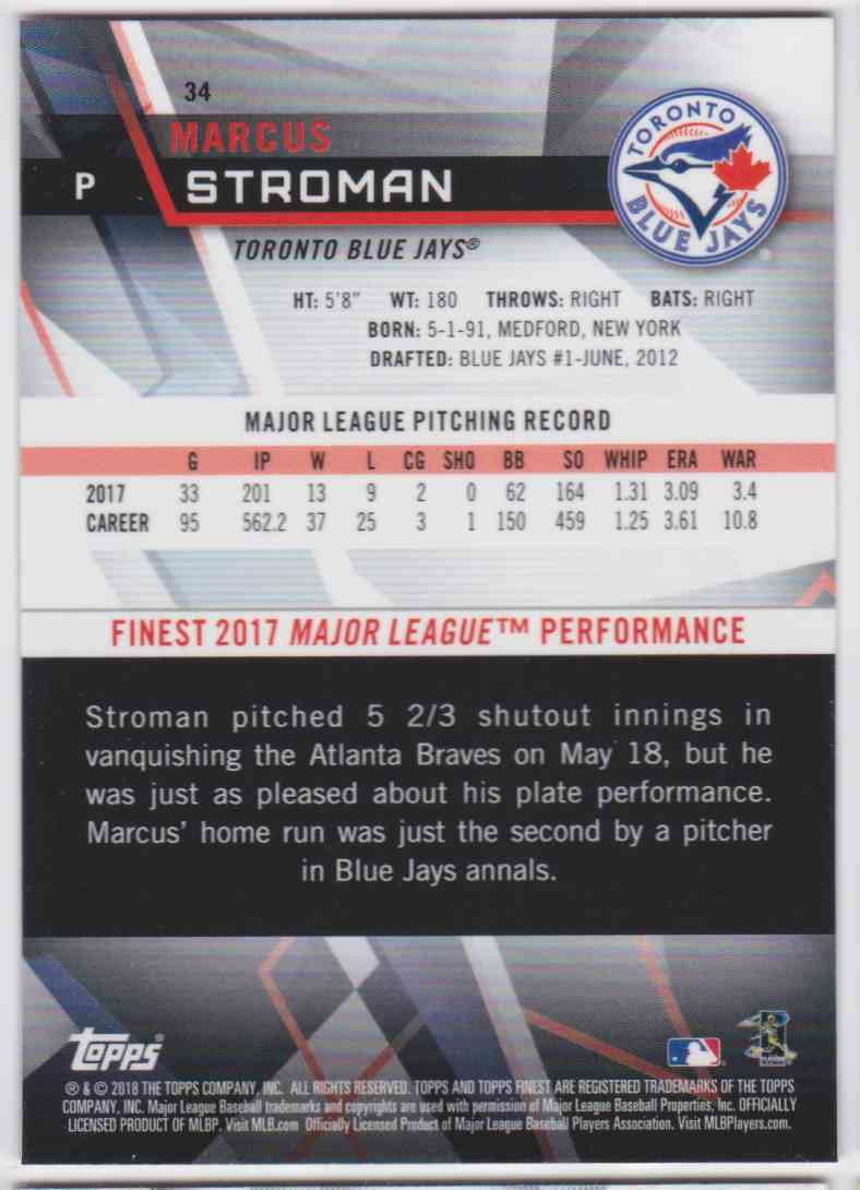 2018 Topps Finest Marcus Stroman #34 card back image