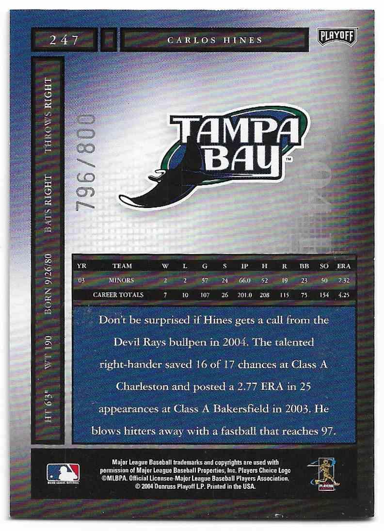 2004 Playoff Honors Carlos Hines #247 card back image