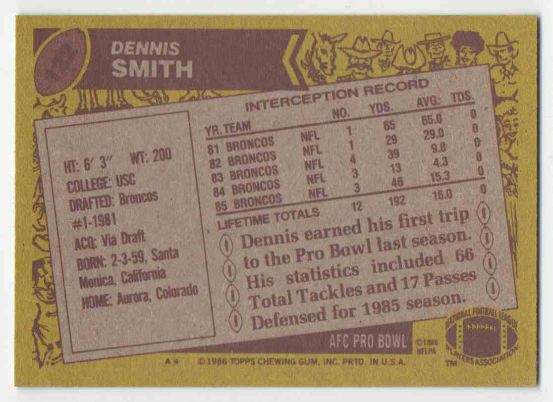 1986 Topps Dennis Smith #122 card back image