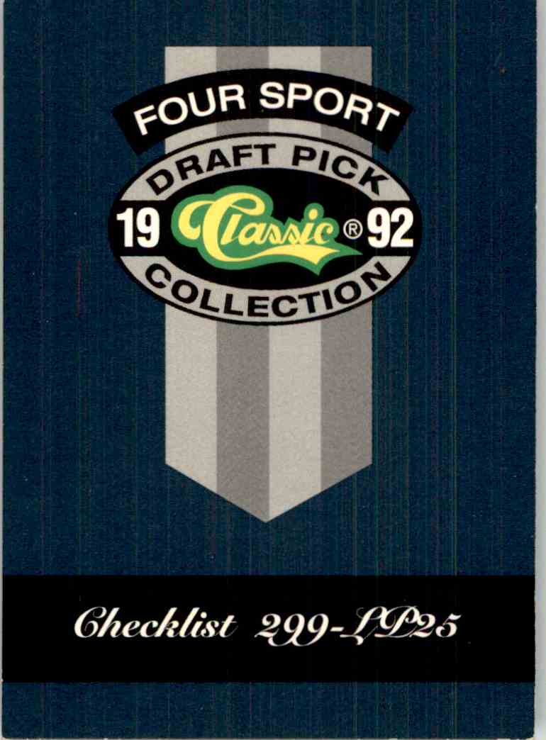 1992-93 Classic Four Sport Checklist #325 card front image