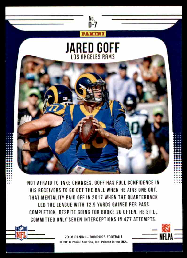 2018 Donruss Dominators Jared Goff #D-7 card back image