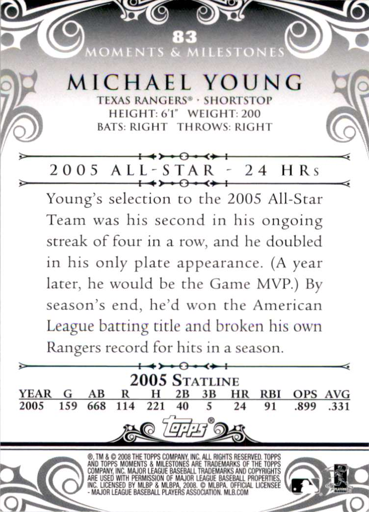 2008 Topps Moments And Milestones Michael Young #83 card back image