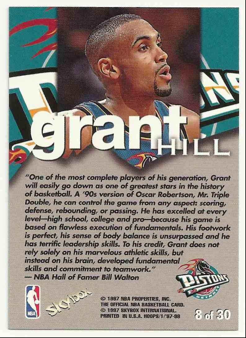 1997-98 Hoops Talkin Hoops Grant Hill #8 card back image