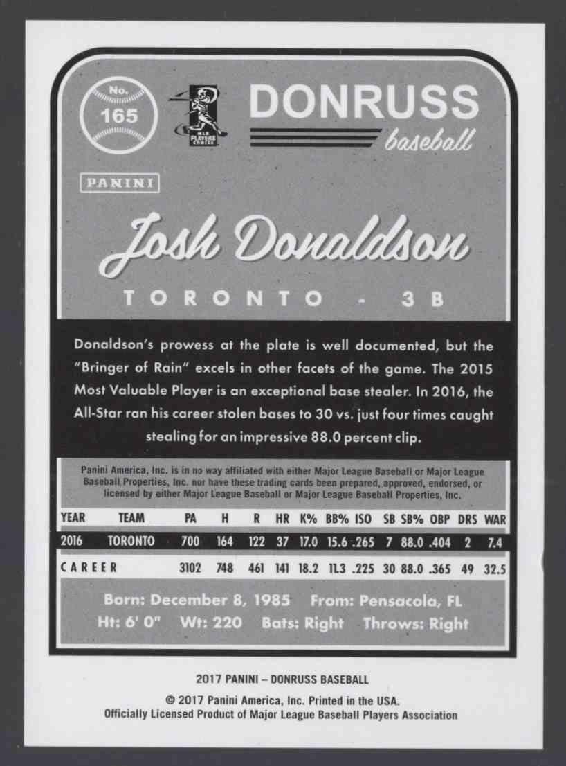 2017 Donruss Gray Border Josh Donaldson SP / Bringer Of Rain #165B card back image