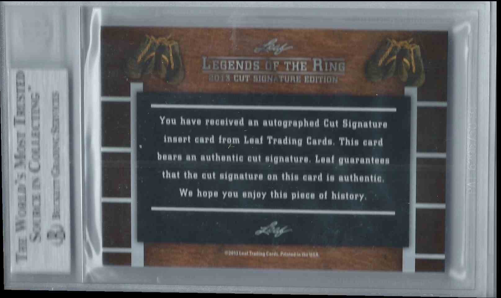 2013 Leaf Legends Of The Ring Cut Signature Edition Boxing Hall Of Fame Enrique Bolanos #CUTEB card back image