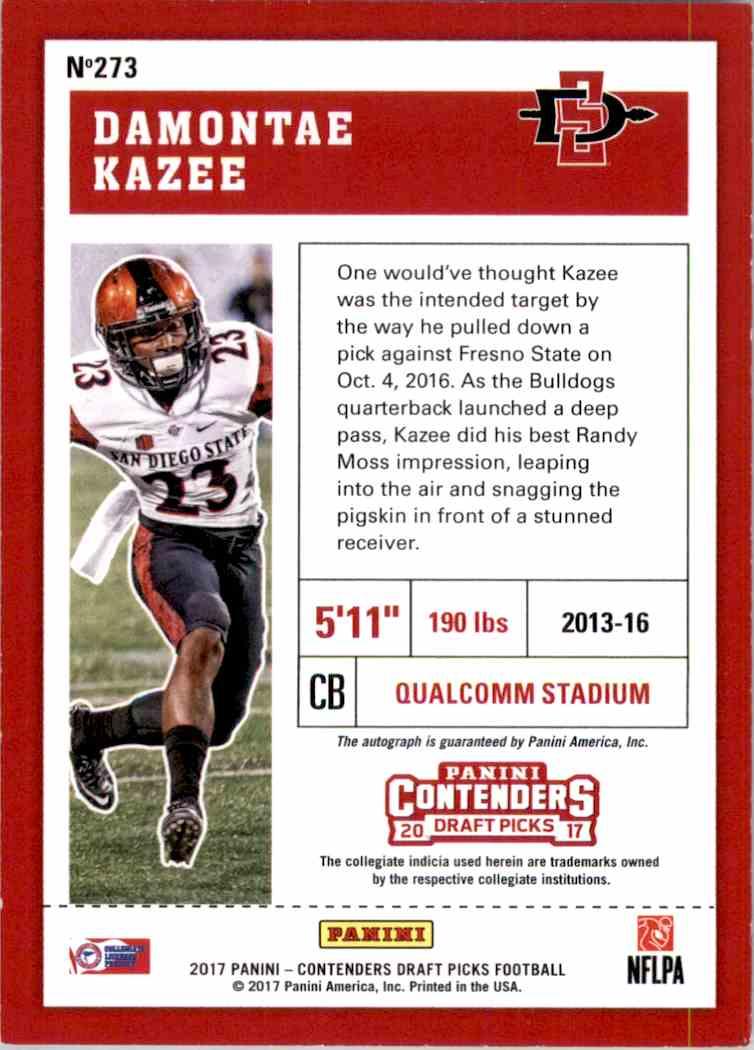 2017 Panini Contenders Draft Picks College Draft Ticket Blue Foil Damontae Kazee #273 card back image