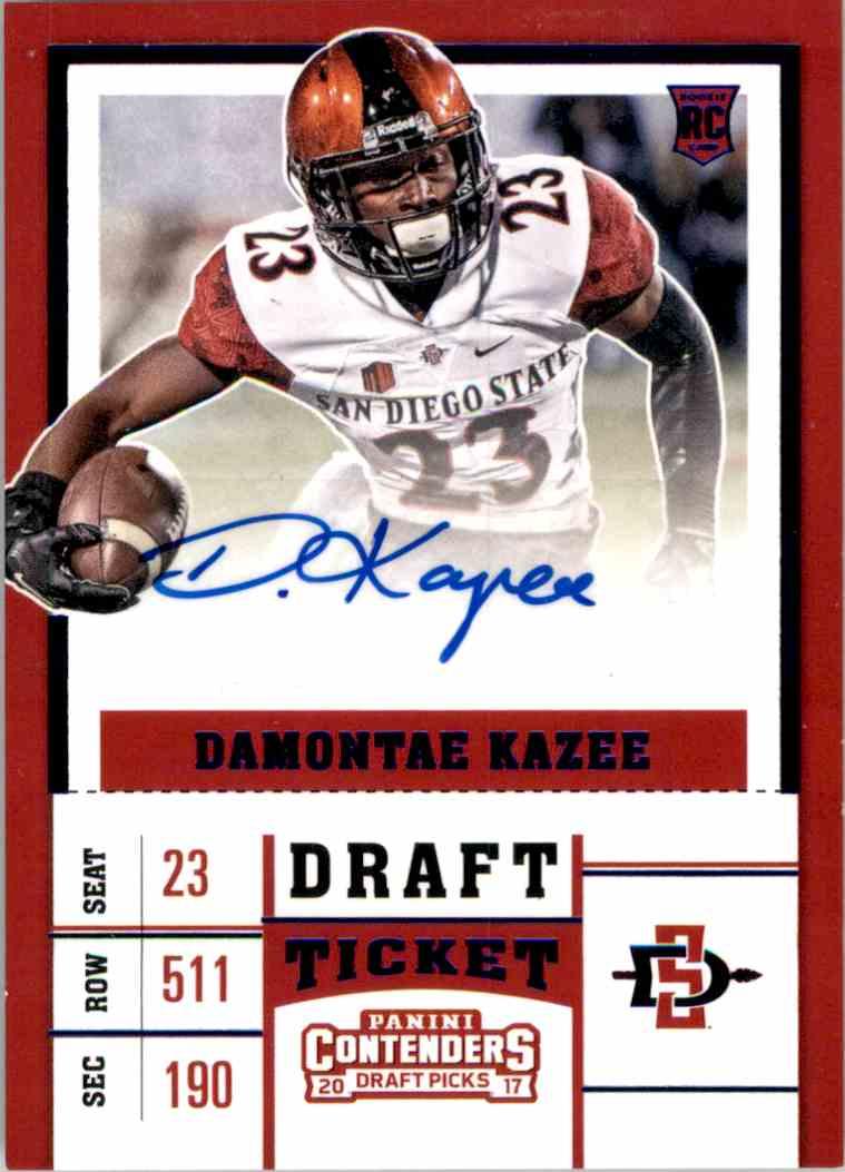 2017 Panini Contenders Draft Picks College Draft Ticket Blue Foil Damontae Kazee #273 card front image