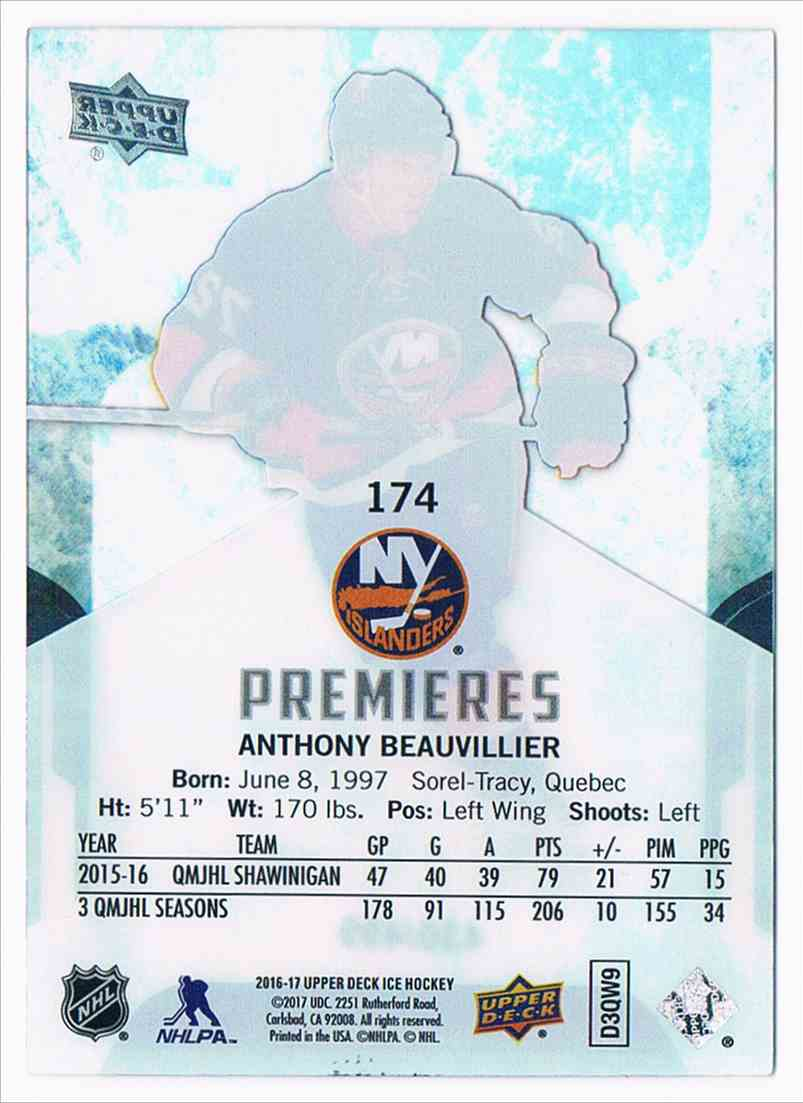 2016-17 Upper Deck Ice Premieres Anthony Beauvillier #174 card back image