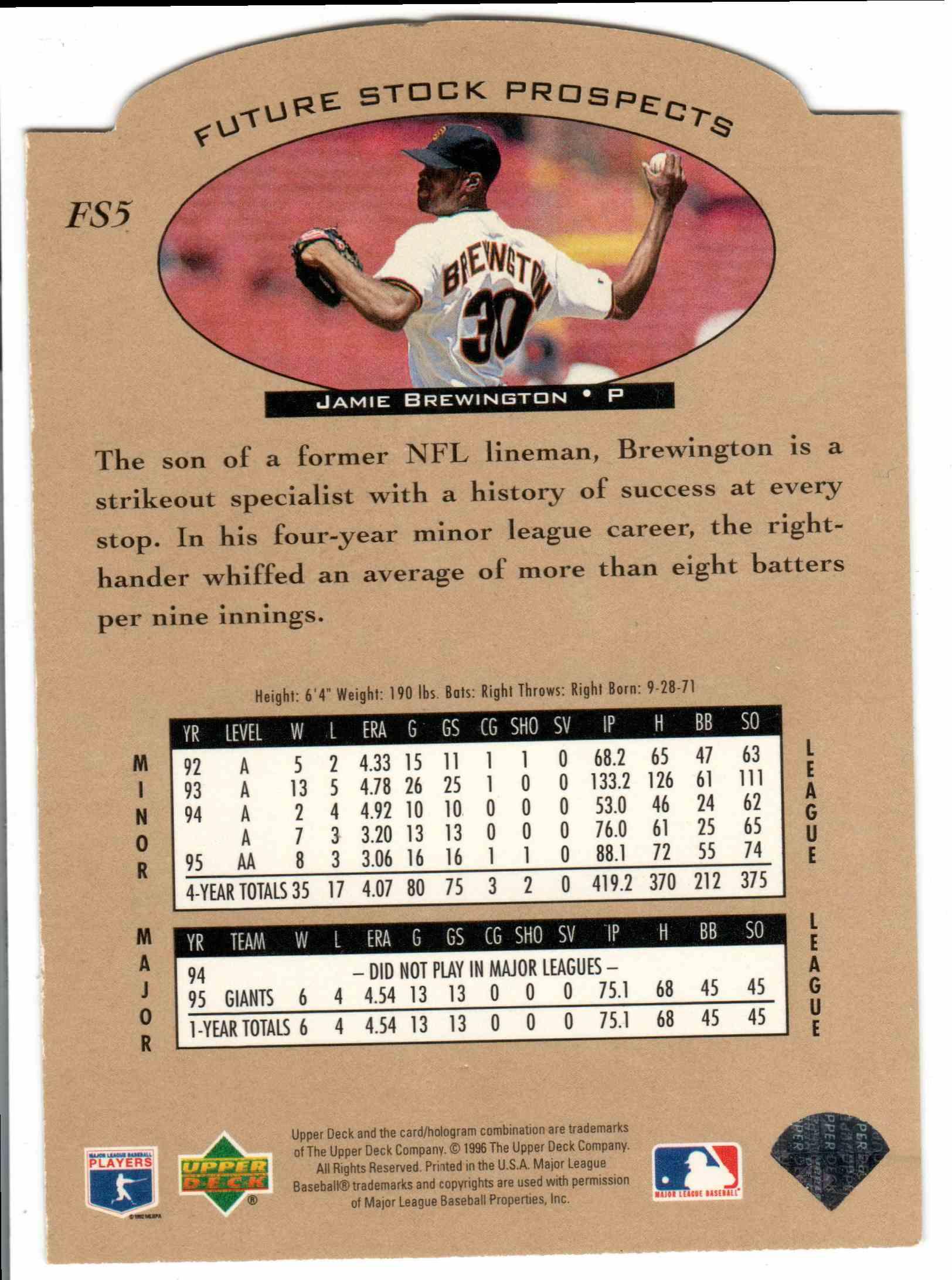 1996 Upper Deck Jamie Brewington #FS5 card back image