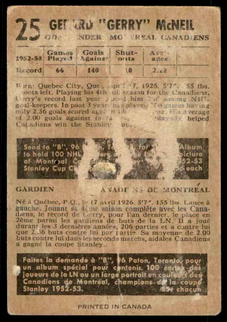 1953-54 Parkhurst Gerry McNeil #25 card back image