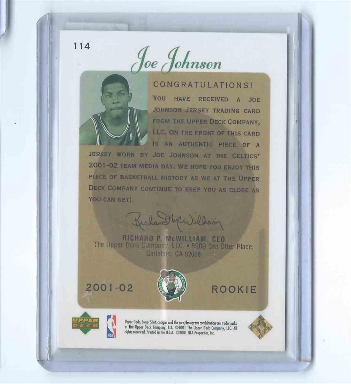 2001-02 Upper Deck Sweet Shot Rookie Jerseys Joe Johnson #114 card back image