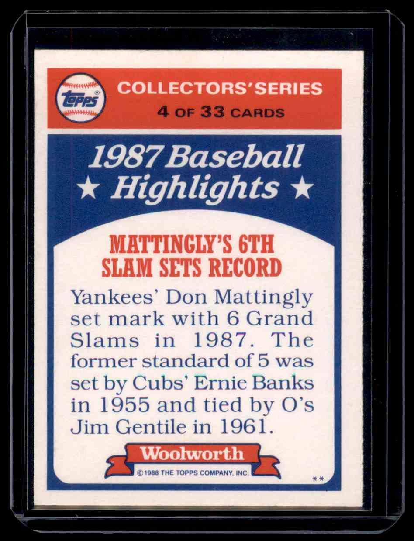 1988 Topps Woolworth Baseball Highlights Collectors' Series Don Mattingly #4 card back image