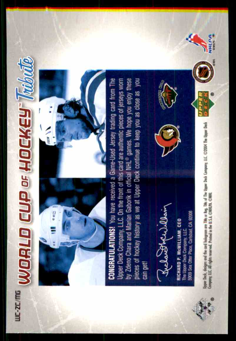 2004-05 Upper Deck World Cup Tribute Zdeno Chara/Marian Gaborik #WC-ZC card back image