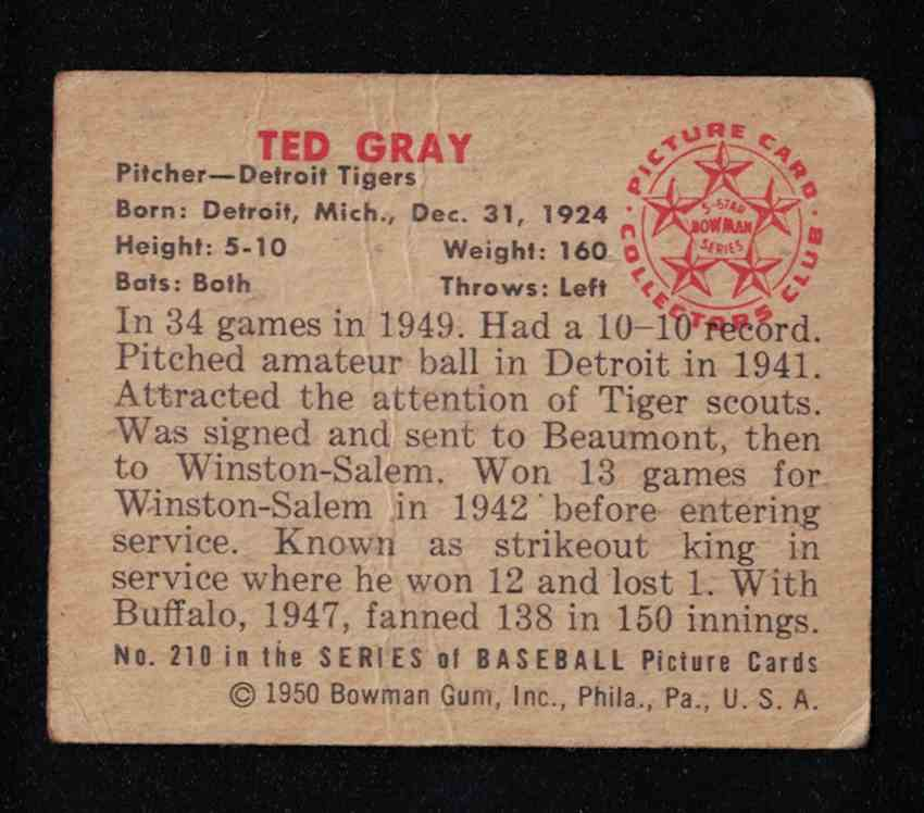 1950 Bowman Ted Gray VG-EX surface creases #210 card back image