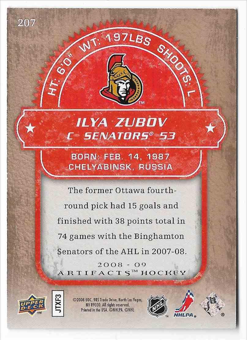 2008-09 Upper Deck Artifacts Ilya Zubov #207 card back image
