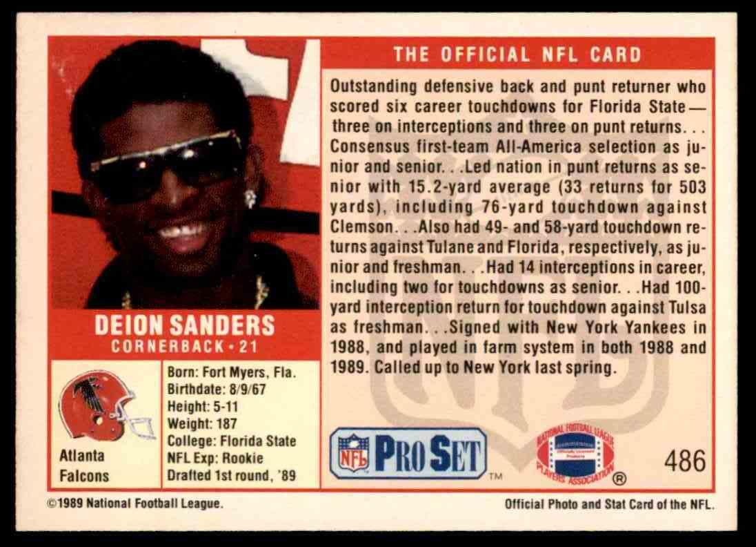 1989 Pro Set Deion Sanders 486 On Kronozio