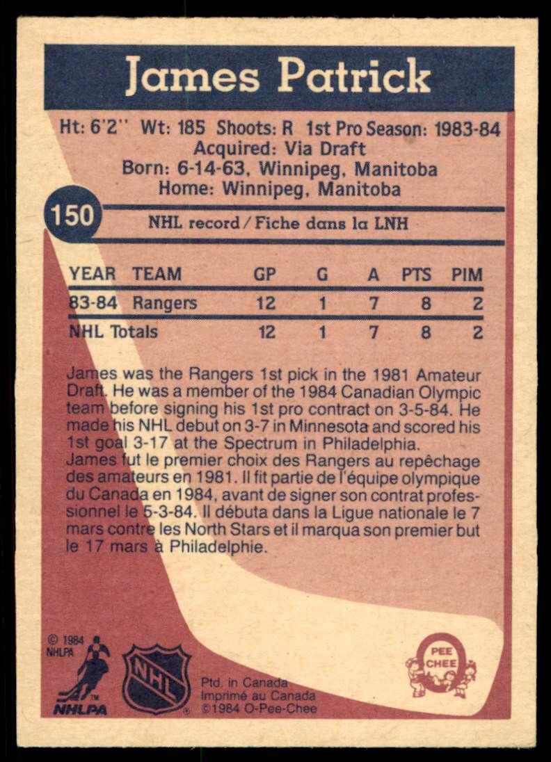 1984-85 OPC James Patrick #150 card back image