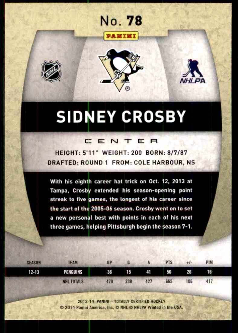 2013-14 Totally Certified Sidney Crosby #78 card back image