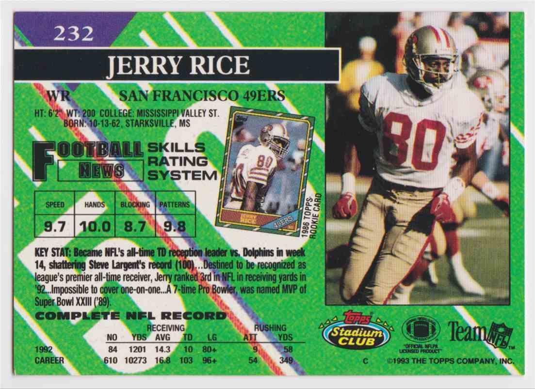 1993 Topps Stadium Club Jerry Rice 232 On Kronozio