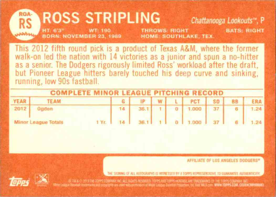 2013 Topps Heritage Minors Real One Autographs Ross Stripling #RS card back image