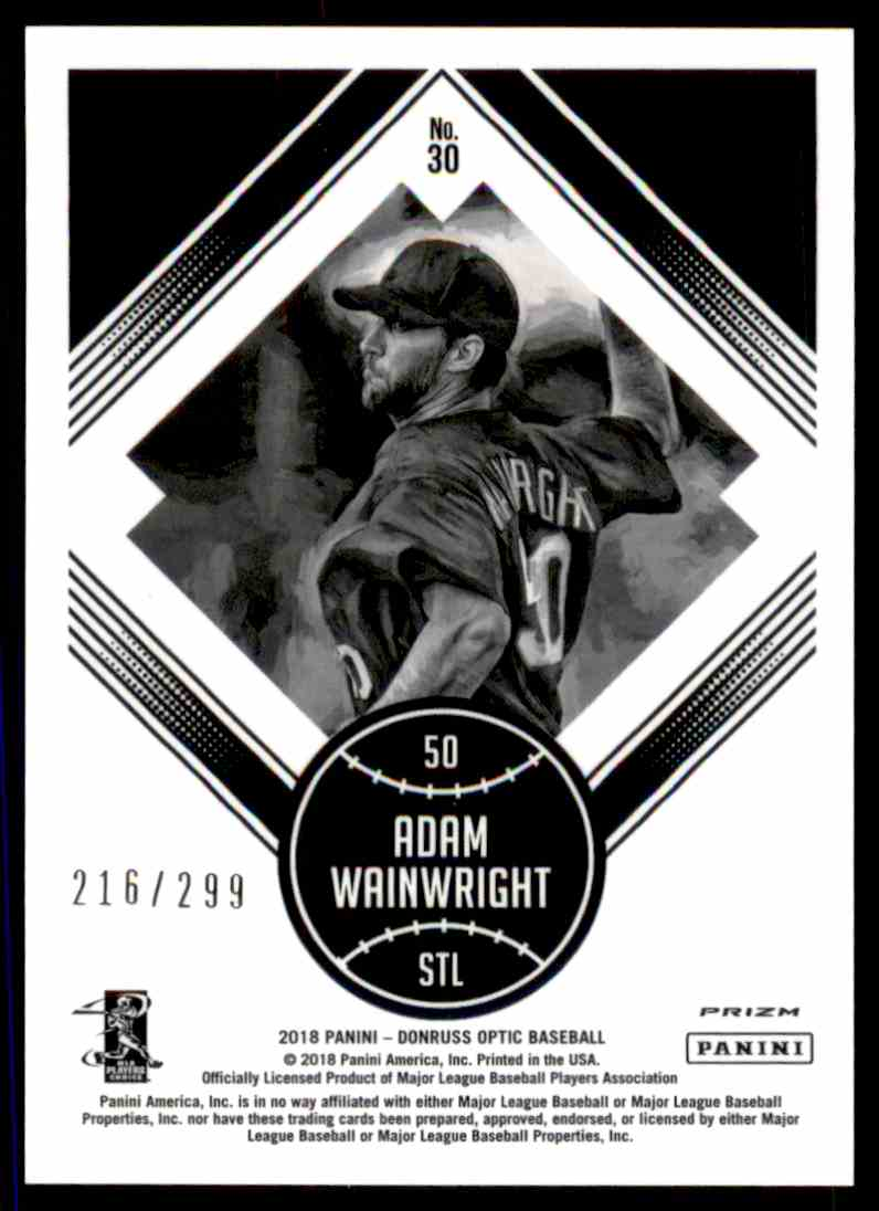2018 Donruss Optic Aqua Prizm Adam Wainwright #30 card back image