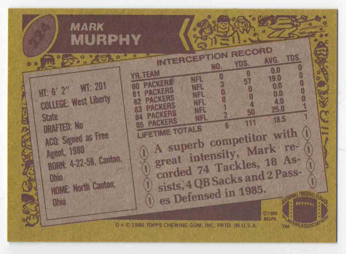 1986 Topps Mark Murphy #224 card back image