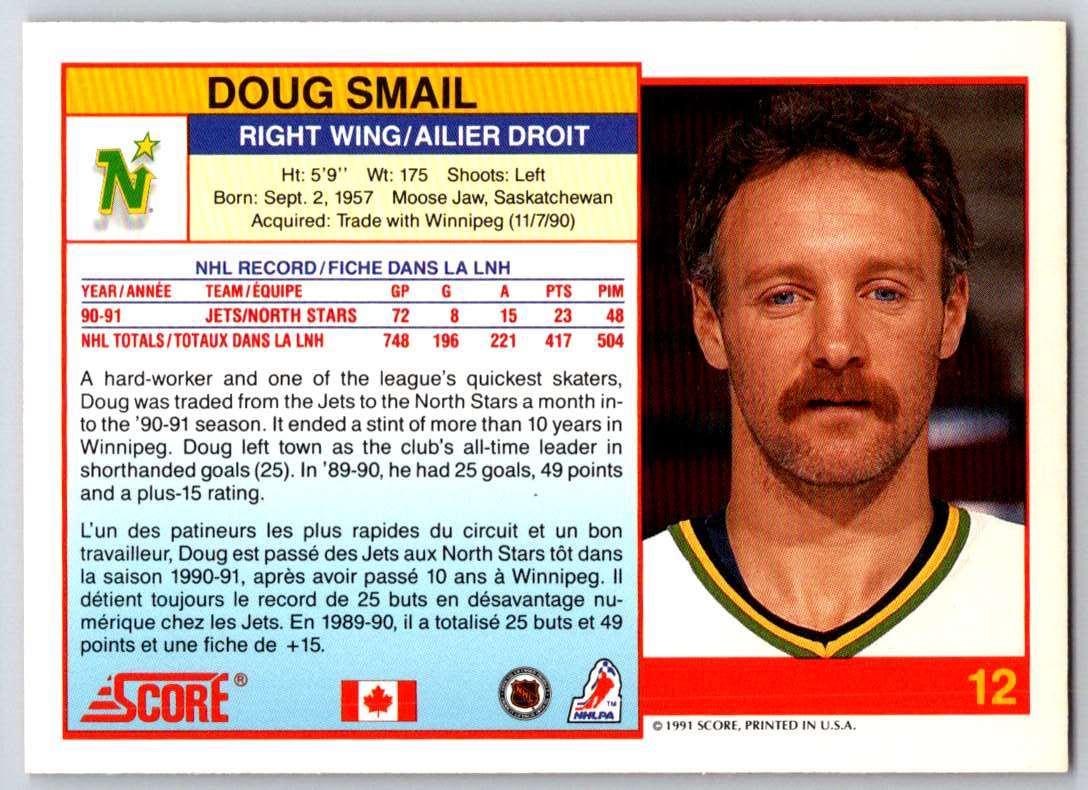 1991-92 Score Canadian Bilingual Doug Smail #12 card back image