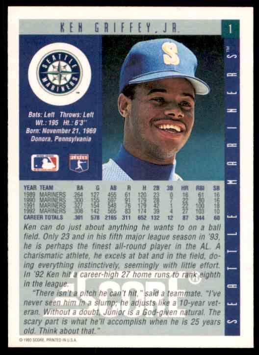 1993 Score Ken Griffey JR. #1 card back image