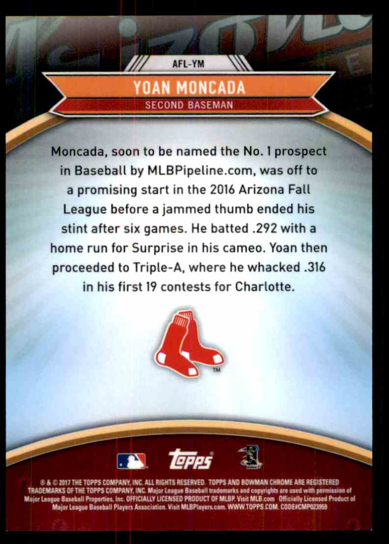 2017 Bowman Chrome Arizona Fall League Yoan Moncada #AFL-YM card back image