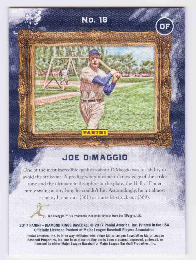 2017 Panini Diamond Kings Grey Framed Joe DiMaggio #18 card back image