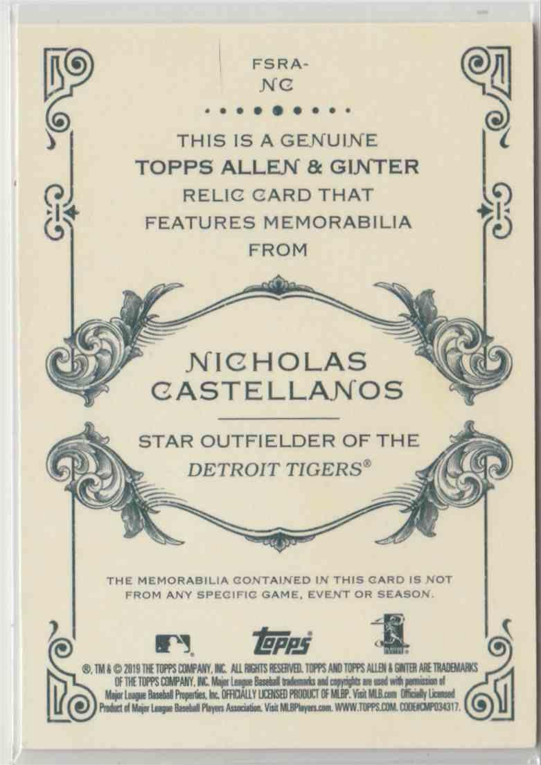 2019 Topps Allen & Ginter Relics Nicholas Castellanos #FSRA-NC card back image