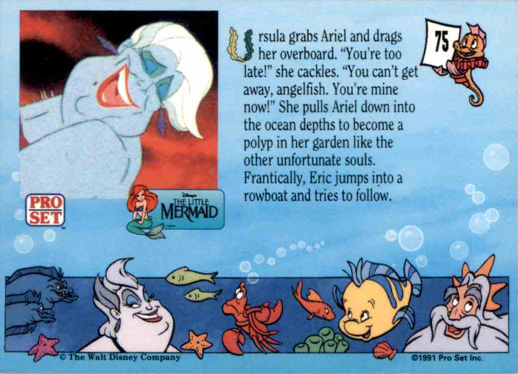 1991 Little Mermaid Ursula Grabs Ariel #75 card back image