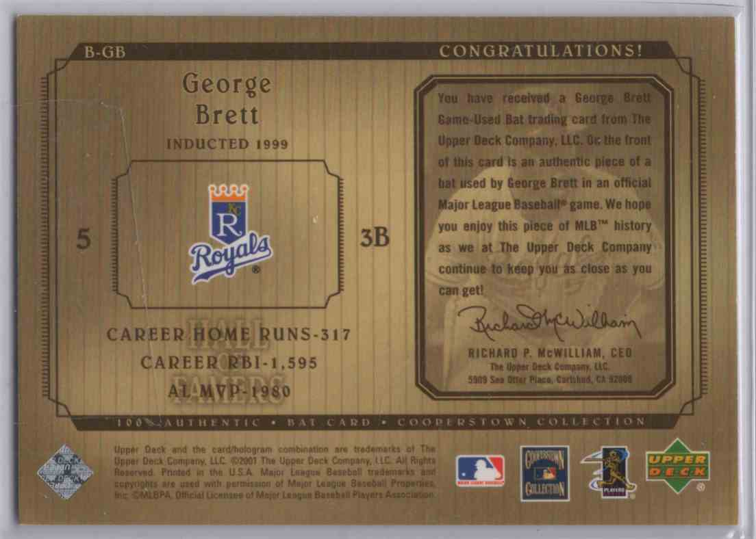 2001 Upper Deck Hall Of Famers Game Bat George Brett #BGB card back image