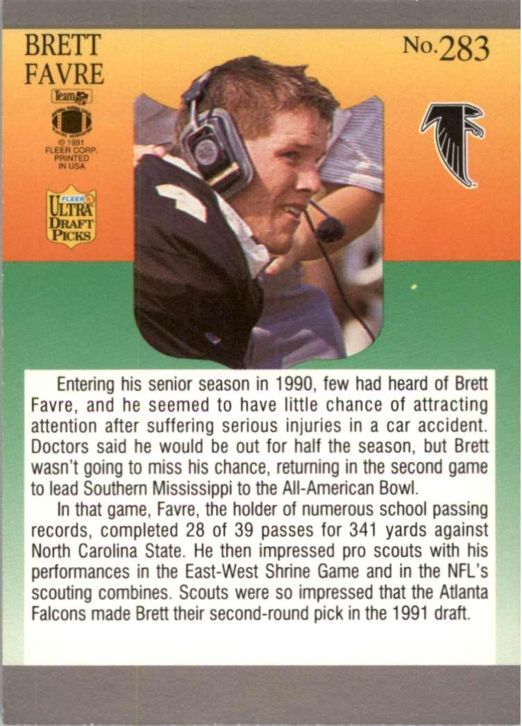 1995 Select Brett Favre #50 card back image