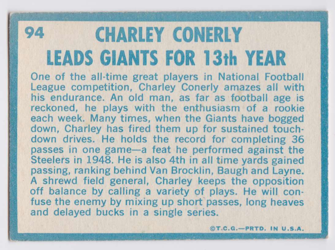 1961 Topps Charley Conerly #94 card back image