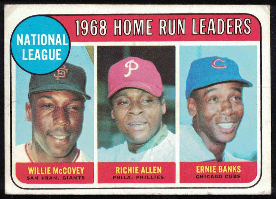 1969 Topps HR Leaders Mccovey, Allen, Banks VG Small crease #6 card front image