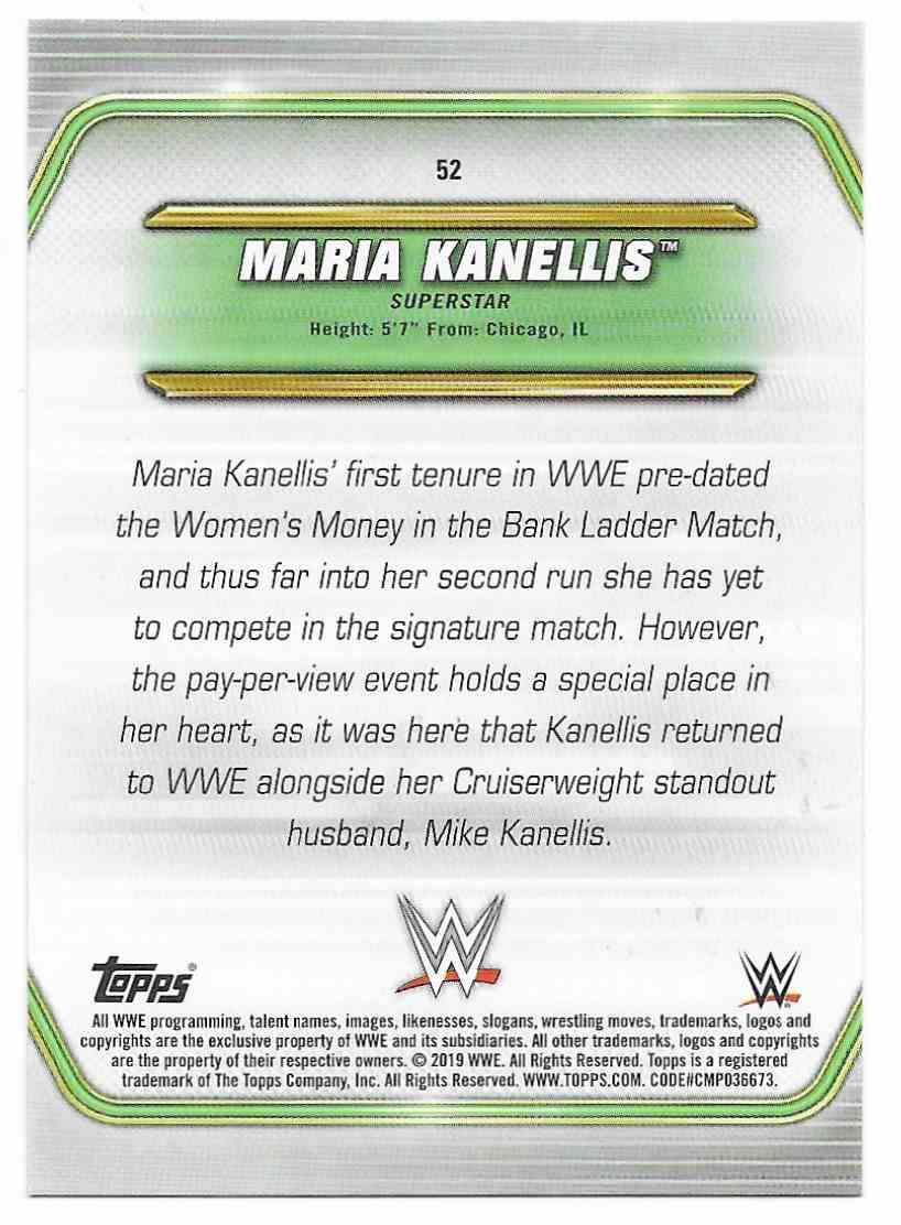 2019 Topps Wwe Money In Then Bank Bronze Maria Kanellis #52 card back image