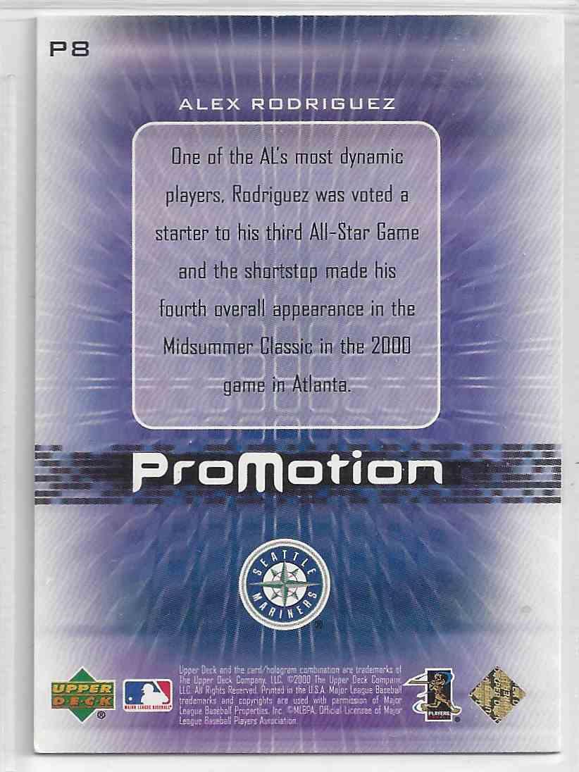 2000 Upper Deck Promotion Alex Rodriguez #P8 card back image