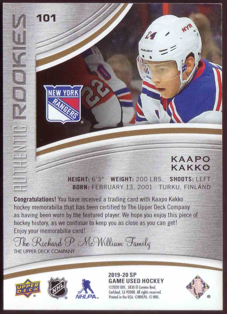 2019-20 SP Game Used Gold Jersey Kaapo Kakko #101 card back image