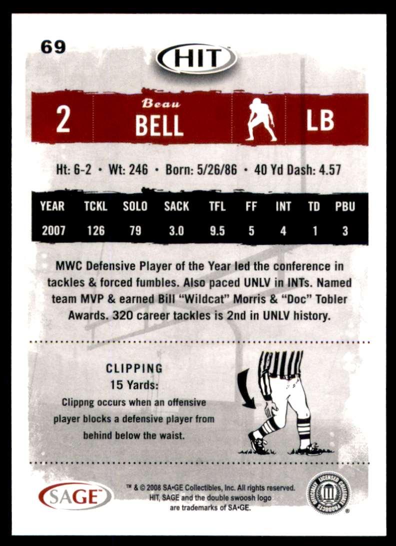 2008 Sage Hit Beau Bell #69 card back image